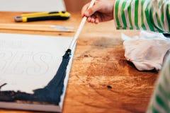 Lona de pintura del niño Fotografía de archivo libre de regalías