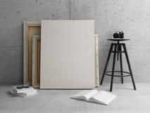 Lona en blanco con el interior concreto moderno imagenes de archivo