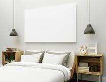 Lona en blanco en el dormitorio imagen de archivo
