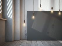 Lona negra en blanco con los bulbos que brillan intensamente en el interior del desván imágenes de archivo libres de regalías
