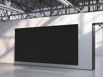 Lona preta no interior moderno da galeria rendição 3d ilustração stock