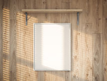Lona vazia na parede de madeira rendição 3d Imagens de Stock