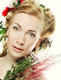 Lond girl with flowers in her hair Royalty Free Stock Photos