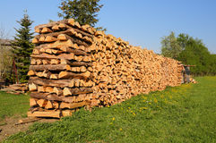 Lond pile of chopped wood Stock Images