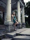 Lond woman. Beautiful blonde woman posing outdoors Royalty Free Stock Image