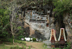 Londa, is a very extensive burial cave at the base of a massive cliff face. Stock Image