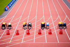 Londen 2012: atleten klaar te rennen Stock Fotografie