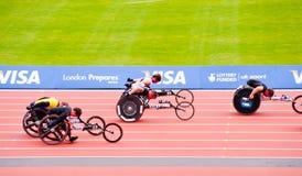 Londen 2012: atleten op rolstoelen Stock Fotografie