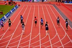 Londen 2012: het lopen in het olympische stadion Royalty-vrije Stock Fotografie