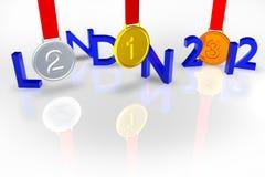 Londen 2012 met Medailles en bezinning Stock Foto's
