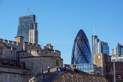 LONDEN - APRIL 25: Het Augurkgebouw in Londen, werd het gebouw toegekend een Koninklijk Instituut van Britse Architecten Stock Afbeelding
