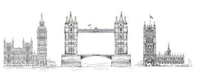 Londen Beroemde gebouwen van de bedrijfsachtergrond van Londen, van de Reis en royalty-vrije illustratie