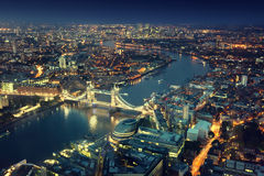 Londen bij nacht en Torenbrug Royalty-vrije Stock Afbeelding