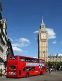 Londen, de Big Ben en de Dubbele Bus van het Dek Royalty-vrije Stock Foto's