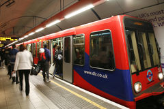 Londen DLR, Lichte Spoorweg Docklands. stock foto