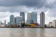 LONDEN, ENGELAND - JUNI 17 2016: Canary Wharf-mening van Greenwich, Londen, Groot-Brittannië Royalty-vrije Stock Afbeelding