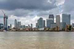 LONDEN, ENGELAND - JUNI 17 2016: Canary Wharf-mening van Greenwich, Londen, Groot-Brittannië Royalty-vrije Stock Foto's