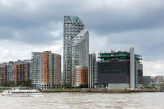 LONDEN, ENGELAND - JUNI 17 2016: Canary Wharf-mening van Greenwich, Londen, Groot-Brittannië Stock Fotografie