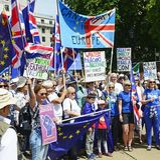 Londen, Engeland 23 juni 2018 Het protest maart van de mensen` s Stem Stock Foto's