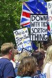 Londen, Engeland 23 juni 2018 Het protest maart van de mensen` s Stem stock foto