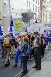 Londen, Engeland 23 juni 2018 Het protest maart van de mensen` s Stem royalty-vrije stock foto's