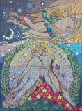 LONDEN, GROOT-BRITTANNIË - SEPTEMBER 14, 2017: Het moderne mozaïek van Adam en Eva Paradise Lost in kerk St Lawrence Jewry Royalty-vrije Stock Fotografie