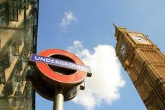 Londen - Grote Ben en ondergronds Stock Afbeelding