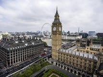 Londen Grote Ben Tower-antenne 5 van de klokhorizon Stock Afbeeldingen