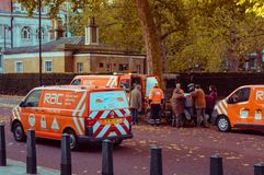 05/11/2017 Londen, het UK, Londen aan Brighton Veteran Cars Run Stock Foto's
