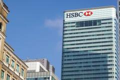Londen, het UK - 6 April 2017: HSBC-bankhk in de stad van Londen HSBC is één van grootste kleinhandels en de investering van UKs royalty-vrije stock fotografie