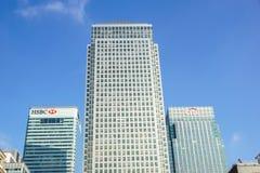 Londen, het UK - 6 April 2017: HSBC-bankhk in de stad van Londen HSBC is één van grootste kleinhandels en de investering van UKs royalty-vrije stock afbeelding
