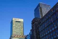 Londen, het UK - 6 April 2017: HSBC-bankhk in de stad van Londen HSBC is één van grootste kleinhandels en de investering van UKs stock afbeelding