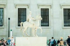 LONDEN, het UK - British Museum-mening en details Stock Afbeeldingen