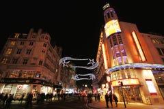 De straatmening van de nacht van het Vierkant van Leicester Royalty-vrije Stock Fotografie