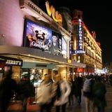 De straatmening van de nacht van het Vierkant van Leicester Royalty-vrije Stock Foto