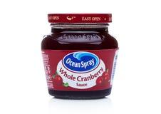 LONDEN, HET UK - 07 DECEMBER, 2017: Kruik van Oceaannevelmerk Geheel Berry Cranberry Sauce op een Wit royalty-vrije stock foto's