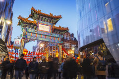LONDEN, HET UK - 2016 februari 14: Poort van de Stad van China, Chinees Nieuwjaar Londen Royalty-vrije Stock Foto