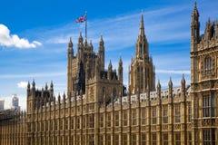 LONDEN, het UK - 24 JUNI, 2014 - Big Ben en Huizen van het Parlement Stock Foto's