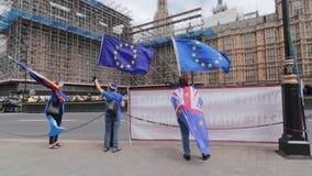 Londen/het UK - 26 Juni 2019 - protesteerders de pro-EU die anti-Brexit Europese Unie vlaggen buiten het Parlement in Westminster stock videobeelden