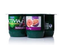 LONDEN, HET UK - 20 OKTOBER, 2017: Pak Activia-yoghurt met fig. en bessen op wit Activia is een merk van yoghurt die door Groupe  Royalty-vrije Stock Foto's
