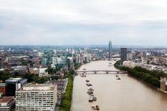 Londen, het UK Panorama van Londen van het Oog van Londen Stock Foto's