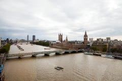 Londen, het UK Panorama van Londen van het Oog van Londen Royalty-vrije Stock Afbeelding