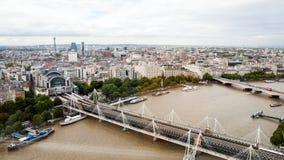 Londen, het UK Panorama van Londen van het Oog van Londen Stock Afbeelding