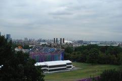 Londen, het UK - 04 September, 2012: Panorama van het Schiereiland van Greenwich in zuidoostenlonden royalty-vrije stock foto's