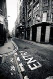 LONDEN - 18 JANUARI: Oud Straatgebied van binnenstad Londen op Januari Royalty-vrije Stock Afbeelding