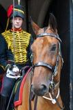 LONDEN - JULI 30: De koningen verzamelen zich Koninklijke Paardartillerie in Whitehal Stock Foto
