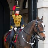 LONDEN - JULI 30: De koningen verzamelen zich Koninklijke Paardartillerie in Whitehal Stock Foto's