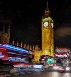 Londen 's nachts, de Big Ben, Engeland Royalty-vrije Stock Afbeeldingen