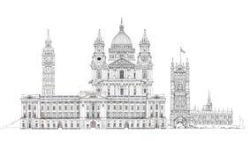 Londen, schets Big Ben, het Parlement, st Paul kathedraal en paleis Royalty-vrije Stock Foto
