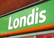 Londis UK shop sign logo. An image of the UK supermarket Londis sign logo in the daytime royalty free stock photo